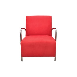 1990s Vintage McCreary Modern Red Microfiber and Chrome Club Chair For Sale