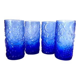 Vintage Mid-Century Blue Pressed Glass Fruit Pattered Tumblers Glasses - Set of 4 For Sale