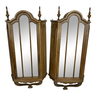 1940s Vintage Rococo Style Hanging Wooden Wall Cabinet- A Pair For Sale