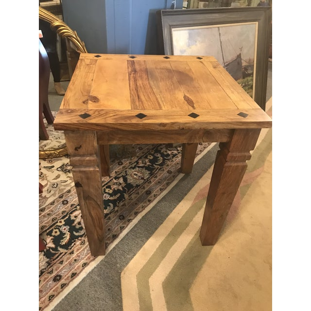 Mid 20th Century Beautiful Solid Wood Side Table With Inlaid Ebony Diamond Design. For Sale - Image 5 of 5