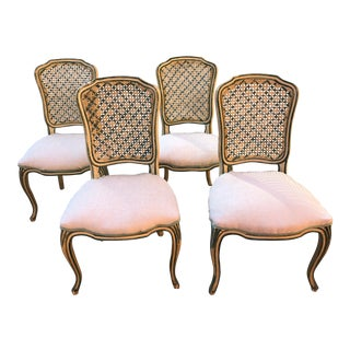Vintage Mid Century Louis XV-style Cane Back Dining Chairs- Set of 4 For Sale