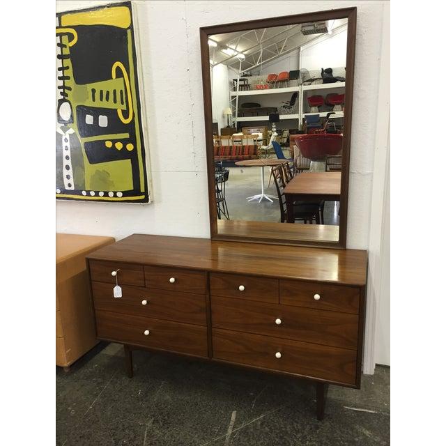Kipp Stewart for Drexel, Walnut Dresser & Mirror - Image 10 of 10