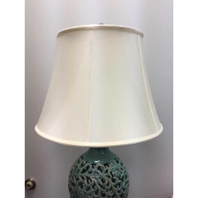 Turquoise asian inspired ceramic table lamp chairish ceramic turquoise asian inspired ceramic table lamp for sale image 7 of 9 aloadofball Choice Image