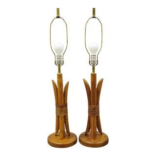 Mid-Century Modern Tiki Hawaiian Rattan Bamboo Jungle Room Table Lamps - a Pair For Sale