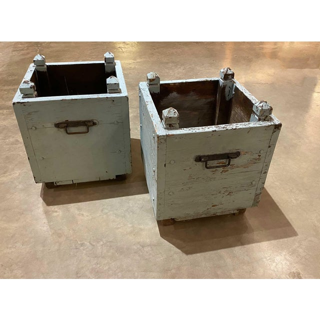 """Pair 19th century pale blue wooden French planters. With chippy paint, original hardware. 13.75"""" Square x 17"""" High"""