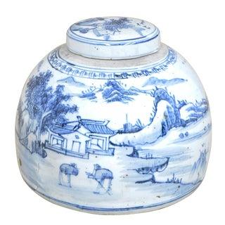 Village Ceramic Lidded Urn For Sale