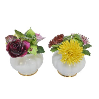 Royal Adderley English Bone China Petite Flowers in Vases - a Pair For Sale