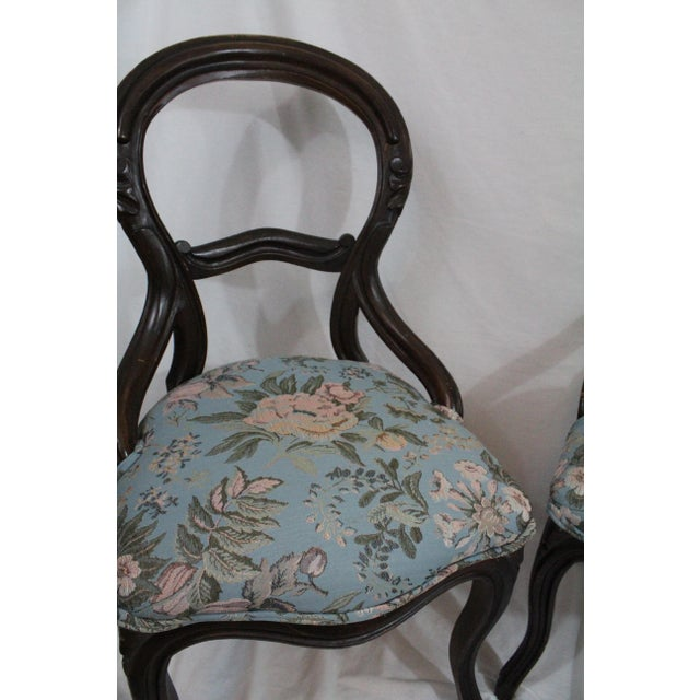 Blue Antique Blue Needlepoint Chairs - A Pair For Sale - Image 8 of 10