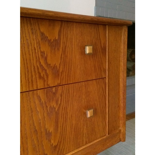 Oak Credenza with Custom Square Pulls - Image 9 of 10