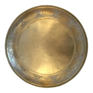 Vintage Chinese Zodiac Motif Brass Tray For Sale
