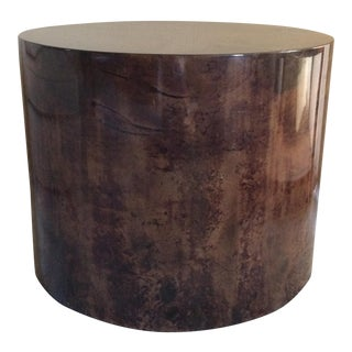 Karl Springer Style Lacquered Goatskin Drum Side Table For Sale