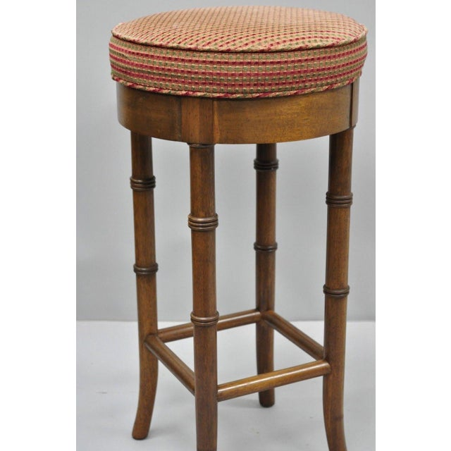 Brown Vintage Chinese Chippendale Style Mahogany Faux Bamboo Counter Bar Stool For Sale - Image 8 of 11