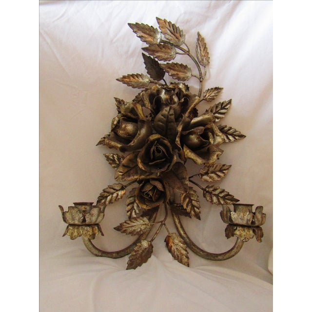 Antique Florentine Gilted Metal Candle Sconce - Image 2 of 5
