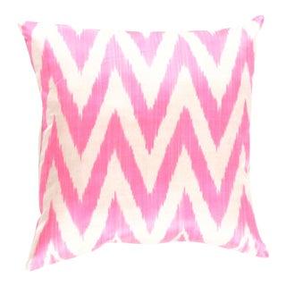 Turkish Rose Silk Ikat Pillow For Sale