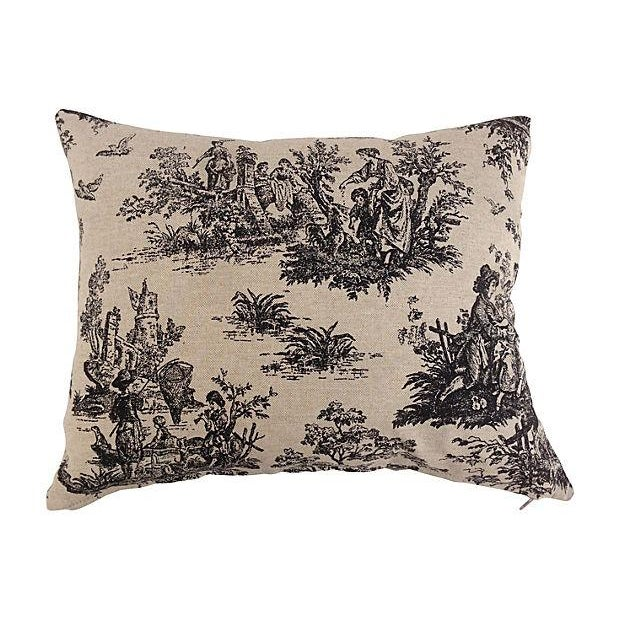 French Country Toile Pillows - Set of 3 For Sale - Image 5 of 5