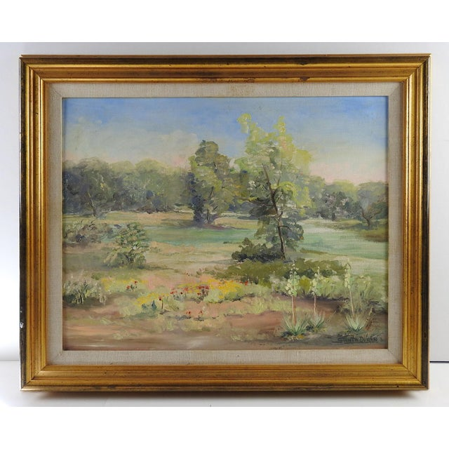 Brownwood, Texas landscape oil on canvas board by Santa Duran (1909-2002) Texas. Signed lower right corner. Titled, dated...