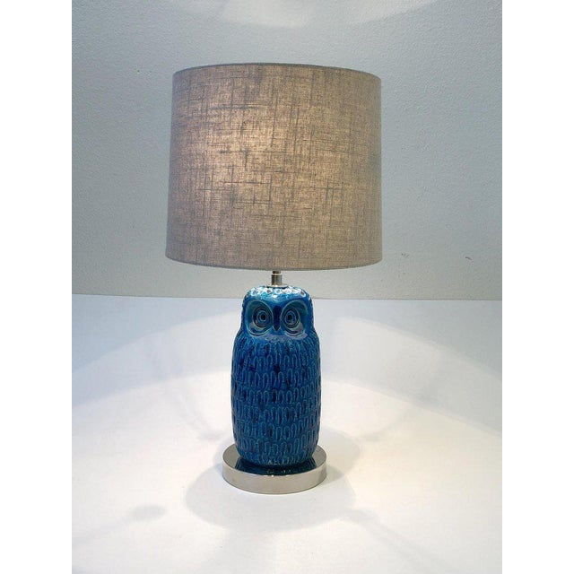 White Italian Ceramic and Nickel Owl Table Lamp by Aldo Londi for Bitossi For Sale - Image 8 of 11