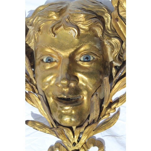 Very Unusual and Very Rare 19c. French Bronze Dore Mask For Sale - Image 4 of 6