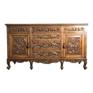 Vintage Spanish Colonial Hand Carved Sideboard For Sale