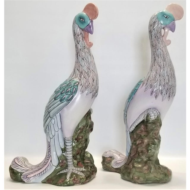 Ceramic Phoenix Bird Statues - Super Large 17 Inches - Feng Shui - Asian Palm Beach Boho Chic Animals Tropical Coastal For Sale - Image 7 of 13