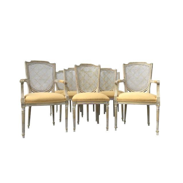 1970s Vintage French XVI Style Painted Dining Chairs- Set of 8 For Sale - Image 13 of 13