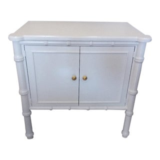 Thomasville Faux Bamboo White Cabinet For Sale