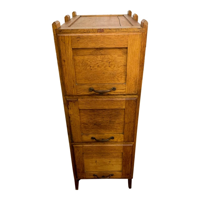 1910s Oak Industrial Three Drawer File Cabinet by Weis For Sale