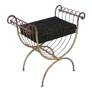Early 20th Century Wrought Gilt Iron Window Bench For Sale