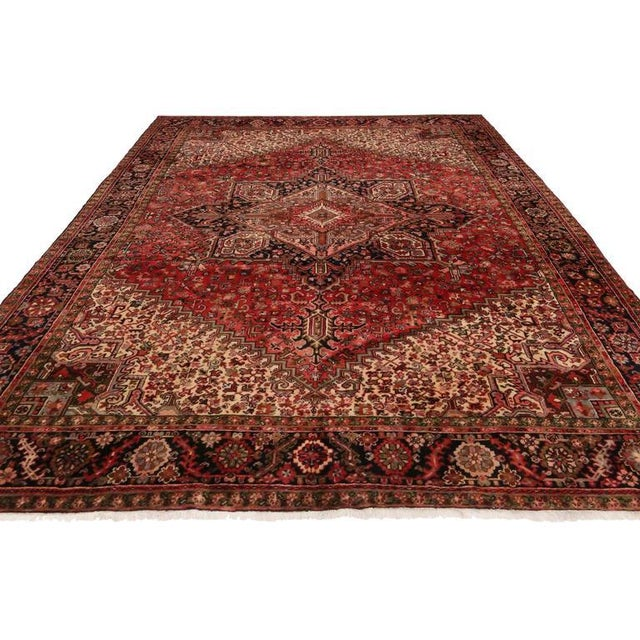 Mid-Century Modern Vintage Persian Heriz Rug with Mid-Century Modern Style For Sale - Image 3 of 8