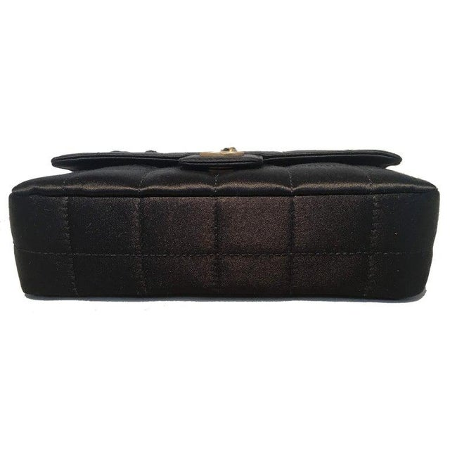 Chanel Chanel Quilted Black Silk Mini Camellia Classic Flap Shoulder Bag For Sale - Image 4 of 12