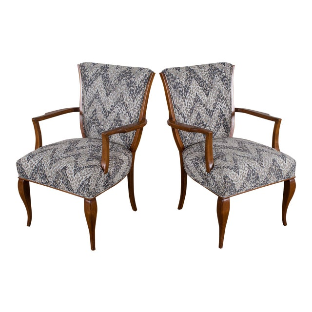 1940s Vintage French Art Deco Beechwood Chairs - a Pair For Sale