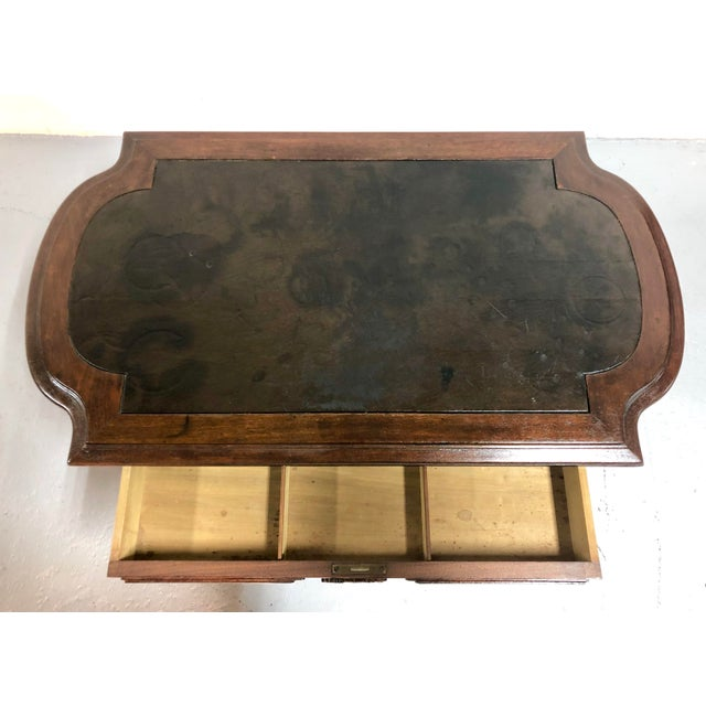 Eastlake Victorian Leather Top Mahogany Hall Table For Sale - Image 9 of 13
