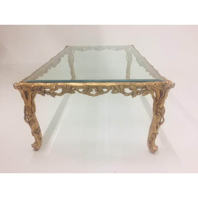 1960s 1960s Vintage Italian Faux Bois Hand Carved Gilded Wood Coffee Table For Sale - Image 5 of 13