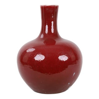 16th Century, Ming Dynasty Red Glaze Flask Neck Vase With Hidden Dragon Design For Sale