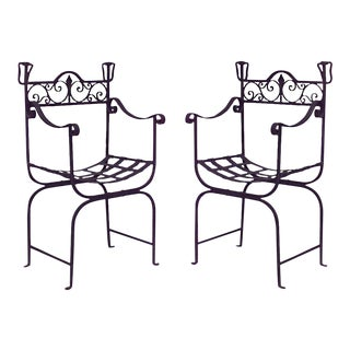 Outdoor Continental Style Iron Scoop Seat Armchairs - a Pair