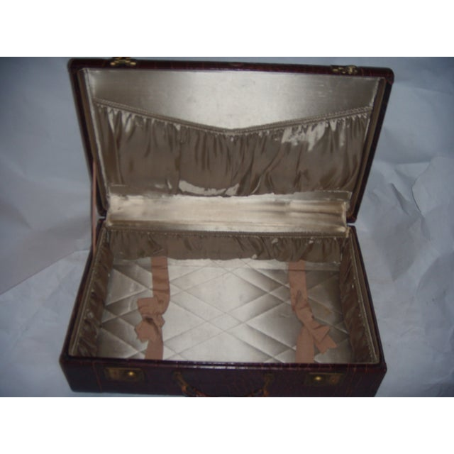 Vintage Towne Faux Alligator Leather Suitcase - Image 6 of 7