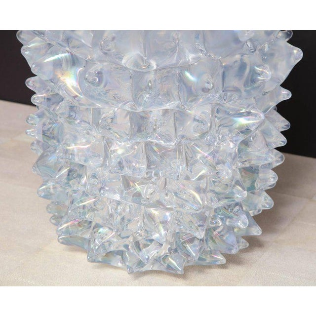 Enormous Signed Sinoretto Murano Iridescent Clear Glass Spiked Vase For Sale In New York - Image 6 of 10