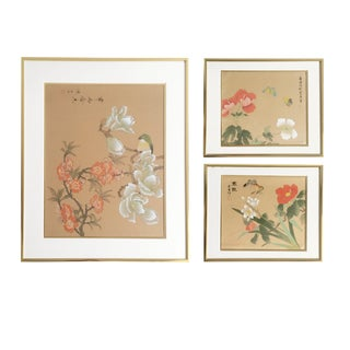 Grouping of Botanical Chinoiserie Asian Silk Paintings of Birds, Butterflies , and Flowering Trees in Gold Frames, S/3 For Sale