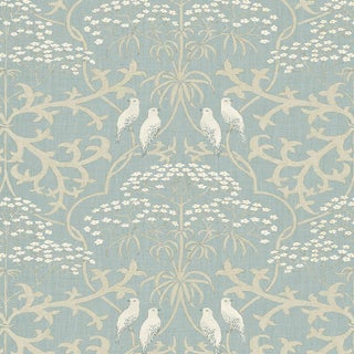 "Lewis & Wood Bella Camomille Extra Wide 52"" Botanic Wallpaper Sample For Sale"