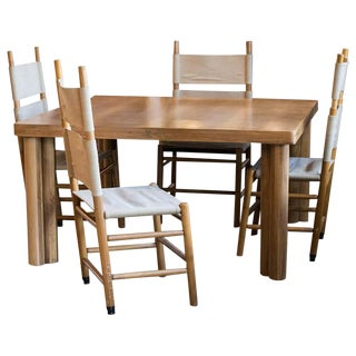 "Carlo Scarpa ""Kentucky"" Chair and Table Set, Italy, 1970s For Sale"