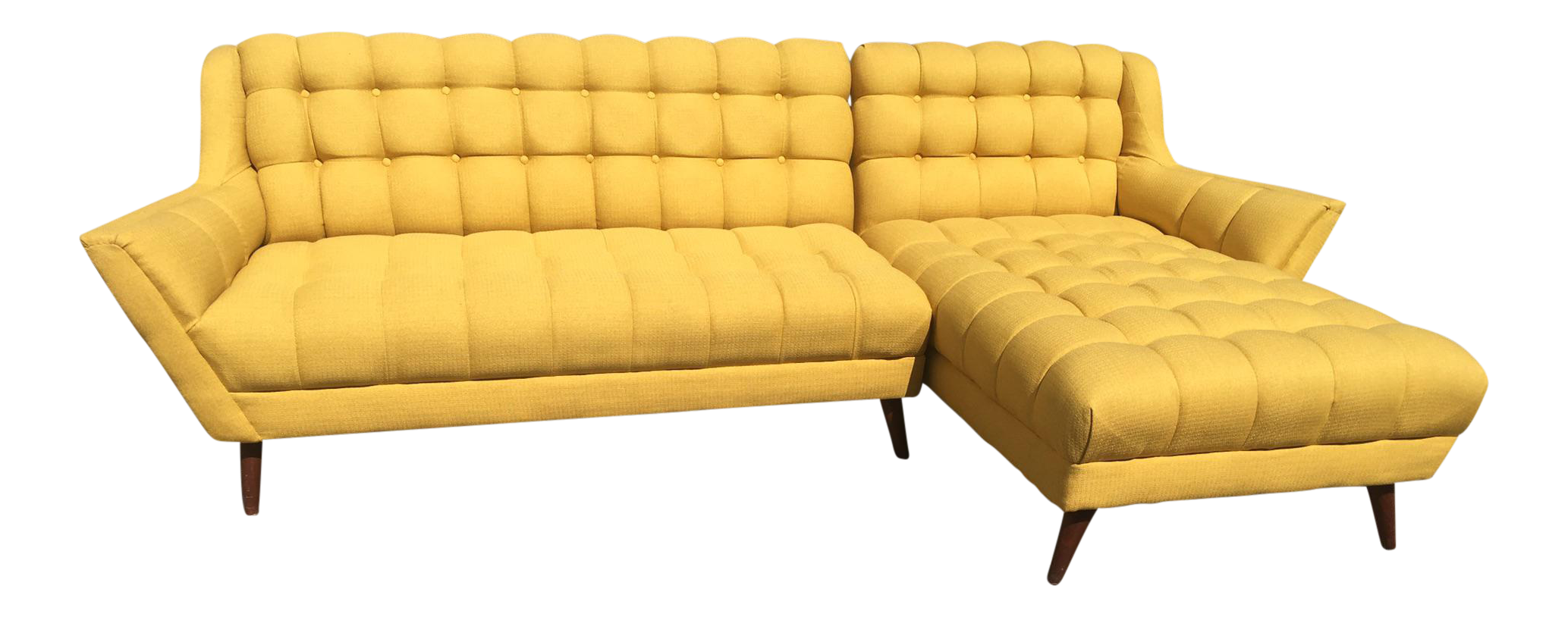 Bright Yellow Mid Century Sectional Sofa