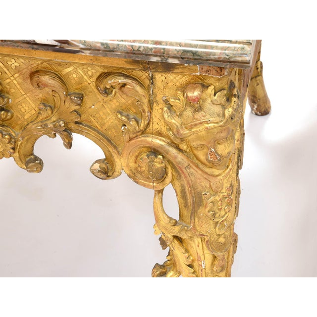 Lime Wood Regency Console in Wood and Marble, French, XVIII Century For Sale - Image 7 of 11