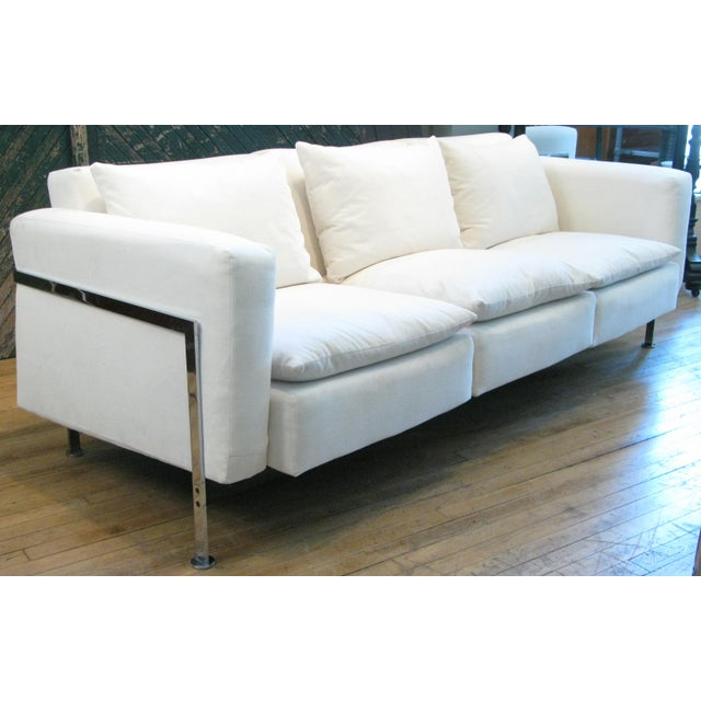 A beautiful three-seat sofa designed by Robert Haussmann and produced by Hans Kaufeld. This sofa is the first early...