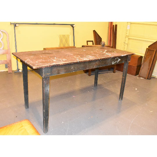 Wood Antique Primitive Industrial Work Bench Table For Sale - Image 7 of 7