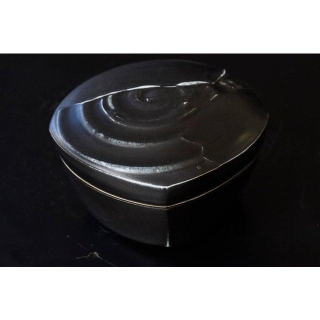 1990s Chris Staley Square Black Lidded Jar, Signed For Sale - Image 5 of 11