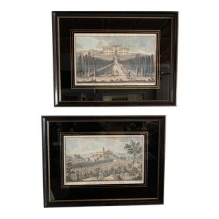 18th Century Italian Architectural Hand Colored Engravings, Framed - a Pair For Sale