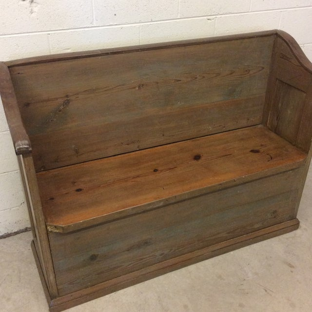 1970s High Back Pickled Wood Bench For Sale - Image 5 of 12
