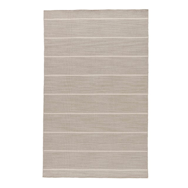 Jaipur Living Cape Cod Handmade Stripe Gray/ White Area Rug - 8′ × 10′ For Sale In Atlanta - Image 6 of 6