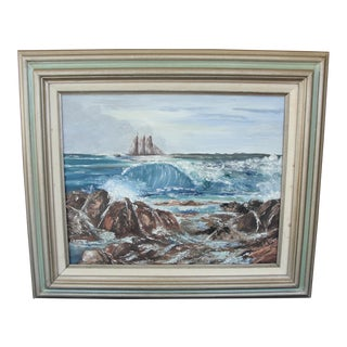 Seascape Oil on Canvas Painting with Tall Ship by Marilyn
