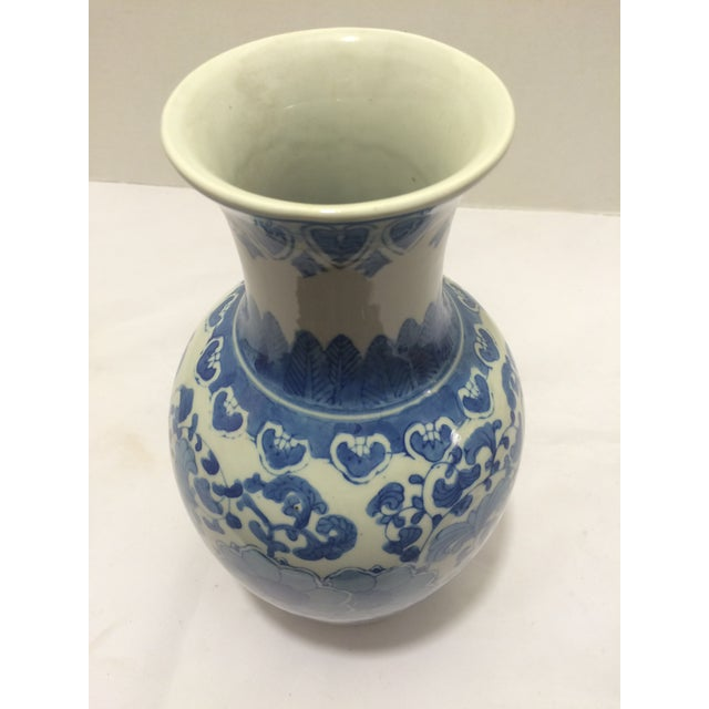 Chinosorie Vase with Delft Blue and Floral Motifs - Image 3 of 6